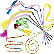 onebarleycorn - 8 Pack Cat Teaser Wands Interactive Cat Toys Cat Charmer Wands with Bell Cloth Ribbo...