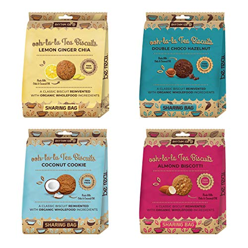Rhythm 108 Organic Vegan Gluten & Dairy Free Tea Biscuits Share Bag Mixed Case of 4 x 135g