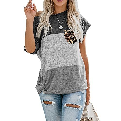 Kurzarm Damen T-Shirt Elegant Bequem Sommer Rundhals Spleißen Damen Bluse Personalisiertes Saum Leoparden Taschen Design Täglich Lässig All-Match Damen Tops F-Grey 3XL