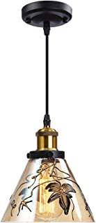 Glass Hanging Light Height Adjustable,Glass pendant lighting for kitchen island,Art glass Hanging Pendant Light,Pendant Lighting Edison bulb for Dining Restaurant Café Hotels Gallery Artist workshop