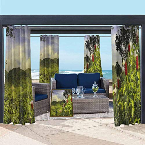 ParadiseDecor Forest Shade Screen for Pavilion/Porch/Yard/Cabin Rural Scenery Costa Rica Countryside Greenery Tropic Accents Botanical Green Red Violet Blue 112W x 95L Inch