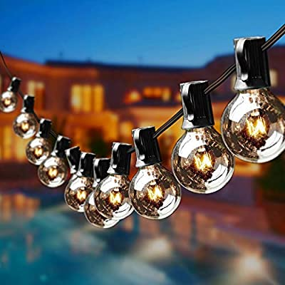 Gorld 100Ft G40 Globe String Lights, UL listed Backyard Lights, Super Long Hanging Indoor/Outdoor String Light for Deckyard Tents, Patios, Weddings, Party Decor, 67 Clear Bulbs + 4 Spare, Black