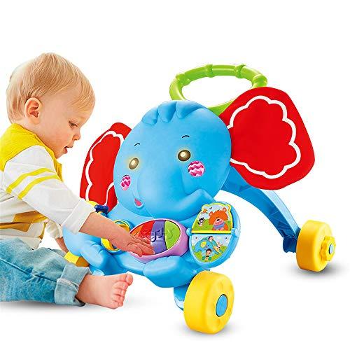Lulu Trolley pour bébé Multifonctionnel Éléphant, Marcheur avec Musique Prévention du roulement Prévenir O-Jambes Bébé Scooter 0-2 Ans