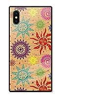 iPhoneSE(第2世代) ケース se2 強化ガラスケース iPhoneSE2 ケース 背面ガラス TPU 光沢 ツヤ スクエア スマホケース おしゃれ オルテガ チマヨ ネイティブ エスニック 柄 選べる10デザイン D chattenoir