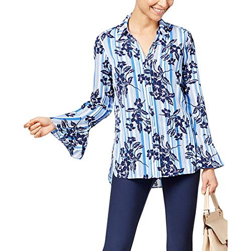 NY Collection Womens Bell Sleeves Striped Button-Down Top Blue XL