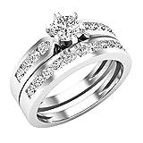 Dazzlingrock Collection 1.00 Carat (ctw) 14K Round Diamond Ladies Bridal Engagement Ring Set 1 CT, White Gold, Size 6