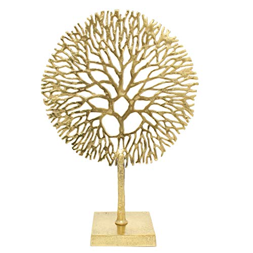 Carousel Home and Gifts Gold Coral Sculpture Decorative Ornament on Metal Stand Tree Of Life Jewellery Stand - Golden Metal Coral Ornament On Aluminium Base