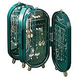 YunNasi Soporte para Pendientes 4 Puertas Plegable a Prueba de Polvo para Collares con Espejo Organizador de Joyas Caja Organizadora de Pendientes Regalos (Verde)