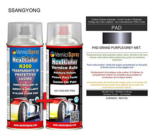 Kit Vernice Auto Spray PAD GRAND PURPLE/GREY MET. e Trasparente Lucido Spray - kit ritocco vernice metallizzata 400+400 ml di VerniciSpray