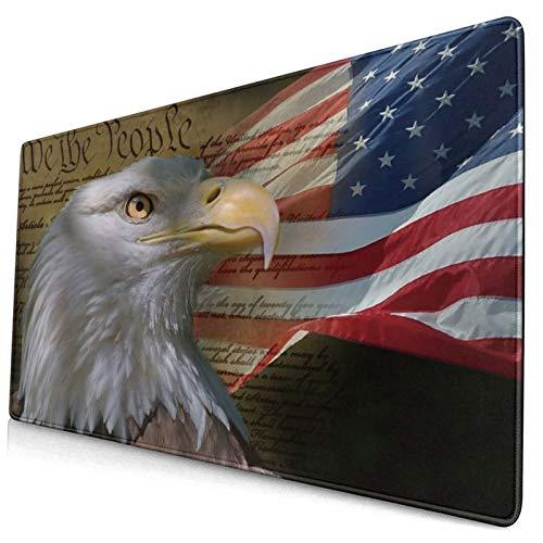 HUAYEXI Tappetino Mouse,Aquila Calva Bandiera Americana USA Stelle patriottiche e l'indipendenza della Bandiera della Banda,Mouse Gaming Grande Pad con Base in Gomma Antiscivolo