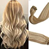 Clip in Hair Extensions Human Hair Blonde Highlighted 18inch Silky Straight Clip on Hair Extensions Balayage 70g 7Pcs Shiny Soft Tangle and Shedding Free