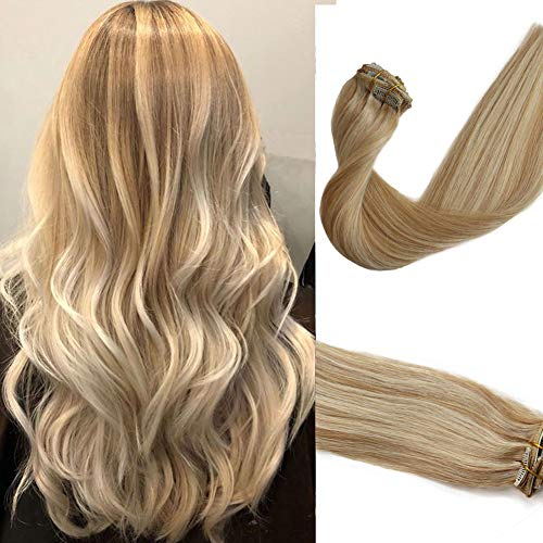 15inch Remy Clip in Hair Extensions Balayage Soft Real Human Hair Extensions Human Hair Natural Beige Blonde with Bleach Blonde 70g 7Pcs For Women