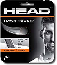 HEAD Hawk Touch Black Colored Poly (Co-Poly) Tennis Racquet String Sets - 17/18/19 Gauge - in Multi-Packs - Best for Control and Spin (2-4-6-8-Packs)