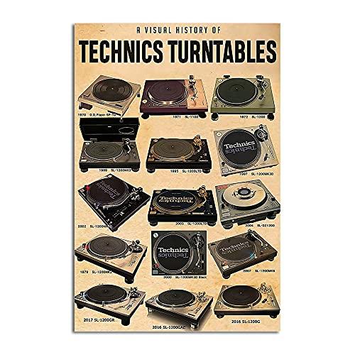 TNND A Visual History Of Technics Tocadiscos clásicos tocadiscos amantes del grabador música signo de metal decoración del cuarto de baño Mural vintage 20 x 30 cm