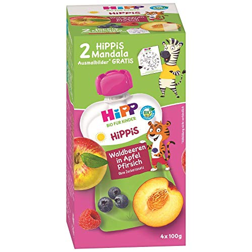 HiPP HiPPiS Quetschbeutel Vorteilspack, Waldbeeren in Apfel-Pfirsich, 100% Bio-Früchte ohne Zuckerzusatz, 4 x 4 Beutel à 100 g