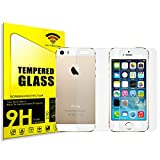 cogac Cristal Templado Doble 0.2MM 9H 2.5D para iPhone SE, 5 Y 5S del Y Trasero