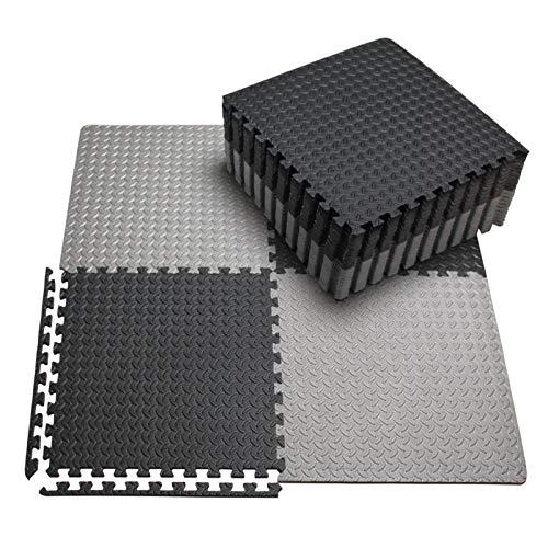 innhom 12/24 piezas de espuma EVA para formar una alfombra de gimnasio para ejercicio, para entrenamiento de equipo, color negro/gris, 12 black and 12 gray