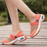 Ladies Walking Shoes Mesh Slip on Air Cushion,Breathable Casual Air Cushion Slip-on Shoes Orthopedic Walking Sandals Outdoor Running Garden Shoes (Orange, 43)