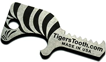Tiger's Tooth Key Ring Bottle Opener - Stainless Steel minimalist keychain tool - EDC