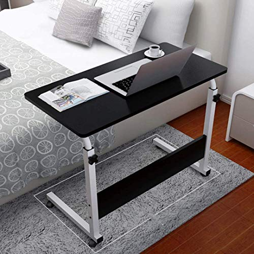 Mobile Overbed Side Table, Adjustable Height Laptop Table Cart Desk, Smooth Quiet Wheels, Accent Coffee Table Laptop Stand Bedside Couch Sofa Bed Tray,for Hospital Medical Use Home Office