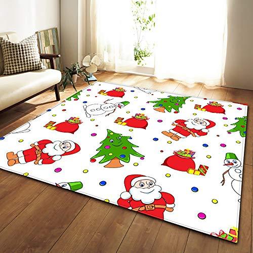 HSRG Rug Noël fête décoration Tapis 3D Noël moquettes Enfants pièce Jouer Tapis Flanelle Tapis Moquette pour Salon,#3,80×50in