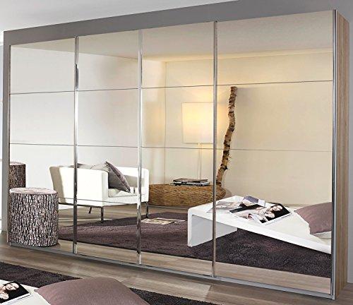 Rauch Armario de 4 puertas correderas con puerta corredera sincrónica de color blanco alpino con espejo completo 316 x 230 x 62 cm
