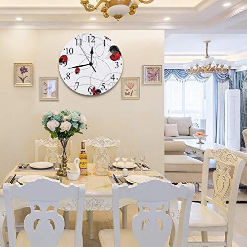 LUHUN Reloj de Pared Grande de diseño Moderno de 30 cm, Animal Ladybugs Gradient Nature Charm,Reloj de Pared silencioso Digital, Utilizado en la Sala de Estar, la Cocina, la habitación de los niños