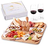Exquisite Cheese Board and Knife Set by Maison del Mar - Charcuterie Board Set & Cheese Serving Platter - Gift Idea for Women, Birthday, Wedding, Anniversary, Housewarming, Events, Entertaining