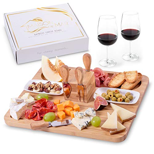 Exquisite Cheese Board and Knife Set with Ceramic Bowls by Maison del Mar - Charcuterie Platter &...