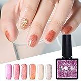 INNICON 6 piezas en 1 juego UV LED Gel para pieles esmaltes semipermanentes Kits de esmalte de uñas para uñas Gellack Rojo Naranja Gris Piel para invierno