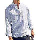 BaZhaHei Chemise Homme Col Mao Manches Longues Chemise en Lin et Conton Casual Respirant Col Boutonné Rayure Ete Blouse Tee Shirt Tops(XL,Bleu)