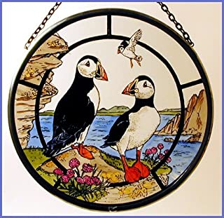 Decorative Hand Painted Stained Glass Window Sun Catcher/Roundel in a Puffins Design.