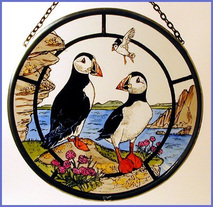 Winged Heart presented by Celtic Glass Designs Decorative Hand Painted Stained Glass Window Sun Catcher/Roundel in a Puffins Design
