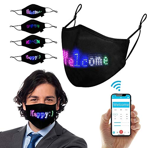 TrendyNow365 LED Face Mask, Customizable and Programmable, Illuminating Face Mask, Bluetooth Smartphone App, Scrolling Colourful Display