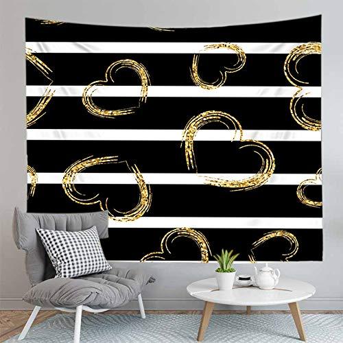 JXCDNB 150CMX130CM 3D Impreso Amarillo Amor corazón Tapiz Colgante de Pared Blanco y Negro celosía geométrica Tapiz para Dormir decoración del hogar Estera de Yoga