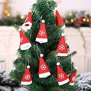 Lalana Co Ltd 10pcs Mini Christmas Holder Pockets Wine Bottle Santa Hat with Rope Cap, Christmas Table Decoration - Pocket Oven Mitts, Cloth Christmas Bag, Christmas Bags, Christmas Table Decorations