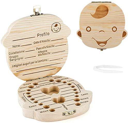 Denti Salva Box per Bambini, DEAROPE Scatola Porta Dentini da Latte, Bambini in legno Ricordo regalo, Accumulazione dei denti (Ragazzo Italiana)