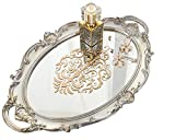 Zosenley Decorative Mirror Tray, Floral Vanity Organizer for Makeup, Jewelry, Perfume and Decor, Vintage Oval Display and Serving Tray for Dresser, Counter and Coffee Table, Golden Silver