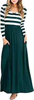Women Striped Long Sleeve Tunic Vintage Casual Maxi Dress with Pockets Waistband