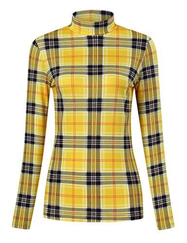 Yesfashion Women's Long Sleeve Slim Fit Turtleneck Basic Layering T-Shirt Yellow Plaid XL