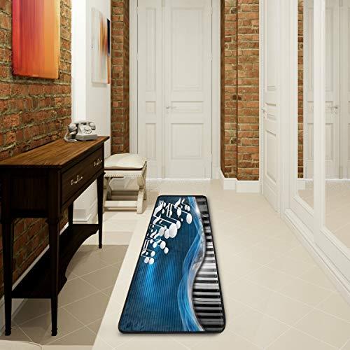 Mnsruu Musiknoten Blue Piano Keyboard Flower Collection Bereich Teppich Teppich für Wohnzimmer Schlafzimmer Küche 61 cm x 182,88 cm