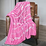 Macevia Inspirational Fleece Healing Thoughts Blanket - Super Soft Sympathy Prayer Throw Blanket Get Well Soon Gifts for Women, Men or Breast Cancer Patient 50×60 Inch (Pink)