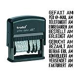 Trodat Printy 4817 Wortbanddrehstempel, Datum plus 12 Texte, Selbstfärbend, Abdruck schwarz, 48 x 3,8 mm