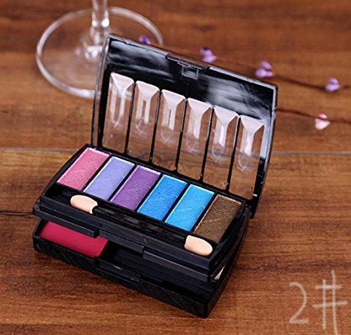 MZP Fard à joues fard à paupières 8 couleurs maquillage double miroir vintage fumer tons couleur cosmétiques , 2#