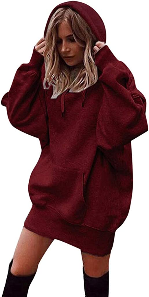 WUAI-Women Pullover Hoodie Dress Casual Lightweight Long Sleeve Loose Tunic Sweatshirt Hooded Sweater Dresses Pocket