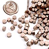UNIQOOO Arts & Crafts 180 Pcs Metallic Champagne Gold Box Sealing Wax Beads Nuggets for Wax Seal Stamp, Great for Embellishment of Cards Envelopes, Wedding Invitations, Wine Packages, Gift Wrapping