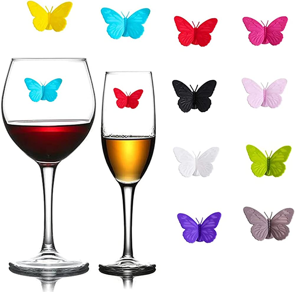Butterfly Wine Glass Charms Bo Markers Max 80% OFF Silicone Max 59% OFF Drink