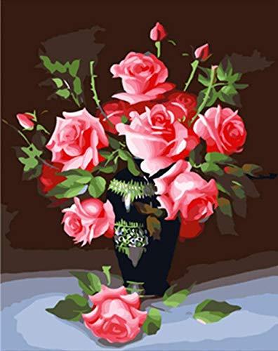 GEZHF - Dipinto a mano con i numeri Junior Windowsill Blooming Flowers DIY pittura ad olio su tela fai da te pittura a olio su tela pittura regalo a seconda dei kit Home House Decor 40,8 x 50,6 cm B