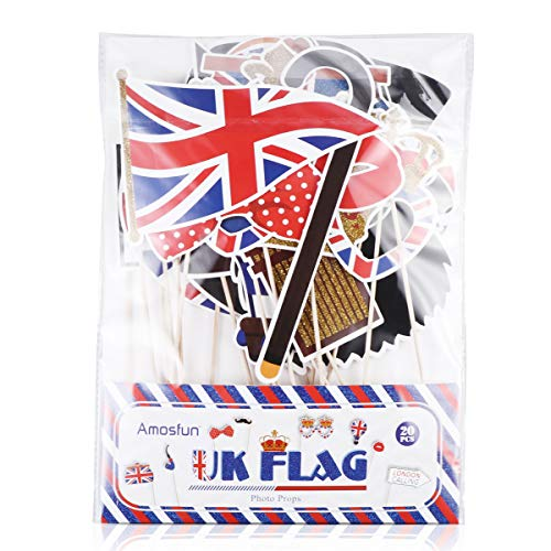 Amosfun British Photo Booth Props Funny British Party Props UK England Selfie Props for British London National Day Party Decorations,Pack of 20