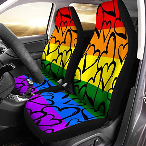 Semtomn Front Car Seat Covers Set of 2 Gay Pride Rainbow Colored Hearts Hand Rawn Ink Brush Fit Most Vehicle, Cars, Truck, SUV, Van